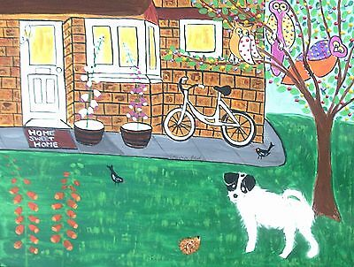 Large Fridge magnet Home sweet home with dog  by Casimira Mostyn