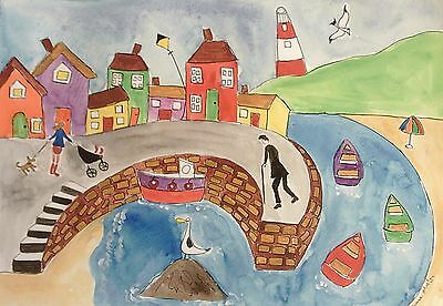 Large Fridge magnet quirky seascape with colourful houses  by Casimira Mostyn
