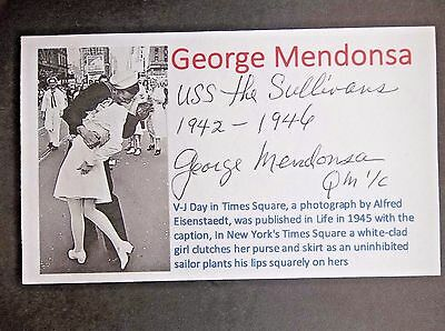 """""""The Kissing Sailor"""" George Mendonsa WWII  Autographed 3x5 Index Card"""