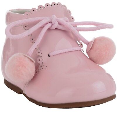 BABY INFANT BOOTS Pink PomPom Romany/SPANISH STYLE Size 5 UK Boutique