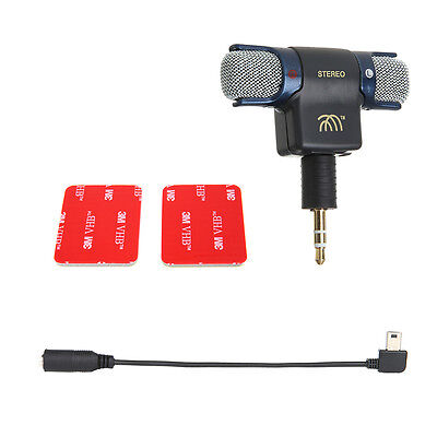 Stereo Mic External Microphone w/ 3.5mm Micro USB Cable Line For GoPro Hero4 3+3