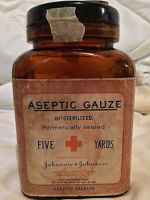 Johnson & Johnson Aseptic Gauze 1906 Jar