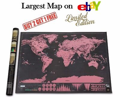 Extra Large Scratch Off World Map Poster Wall Travel Vacation Gift Xxl