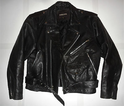 VINTAGE ORIGINAL Classic 80s BLACK LEATHER MOTORCYCLE BIKER JACKET Travellers L