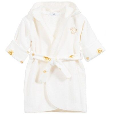 Young Versace Baby Gold Medusa Towelling Bath Robe Dressing Gown 12 Months