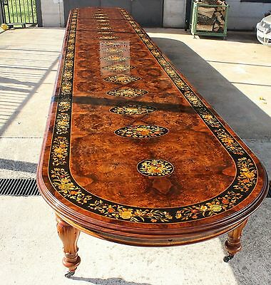 World class beautiful Grand  32ft /10 meter Burr Walnut Marquetry dining table.
