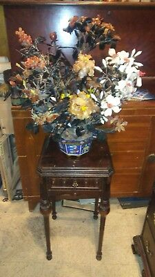 Vintage beautiful Asian  Bonsai Jade & Rose  Glass Floral Tree with table