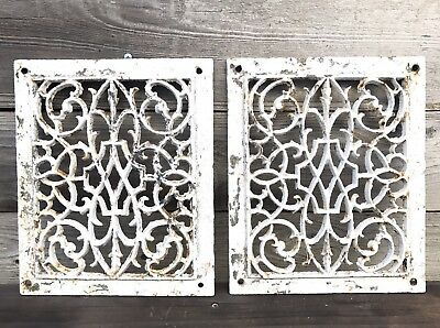 2 Matching Antique Ornate Cast Iron Heat Grates ~ Vintage Ornate Heat Vent