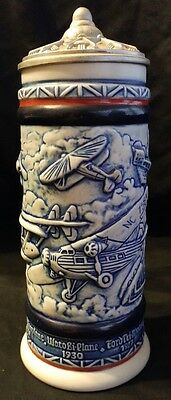 Avon Classic Aviation Planes Lidded Beer Stein Made In Brazil