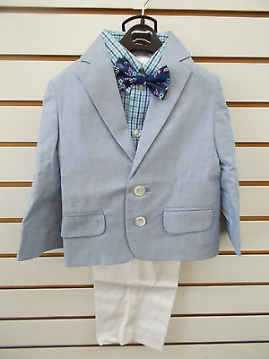 Toddler Boys Izod $85 4pc Blue & White Suit Size 2T/2 - 4T/4
