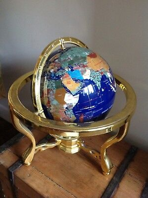 Lapis Gemstone Globe With Compass