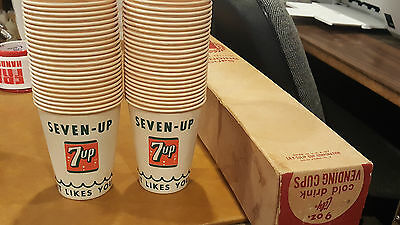 Vintage No. 985 Lily SEVEN 7 UP SODA 9oz Vending 53 PAPER CUPS Old Stock