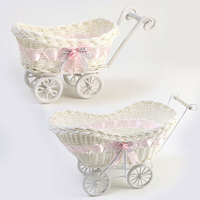 Wicker Hamper Pram Basket Baby Shower Girl Gift
