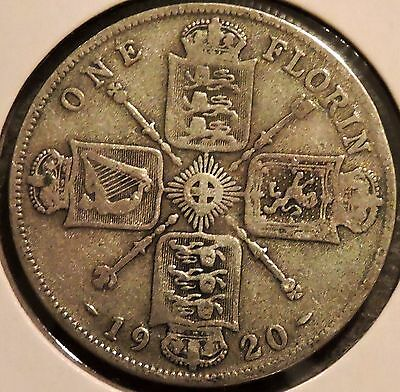 British Florin - 1920 - Big Silver Coin - $1 Unlimited Shipping