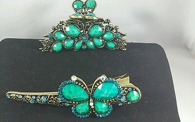 High end Hair Accessories, Jewel hair barrette & clip Turquoise