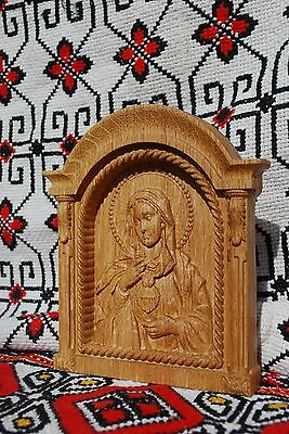 Immaculate Heart of Mary Wood Carving religious gift christian icon on table