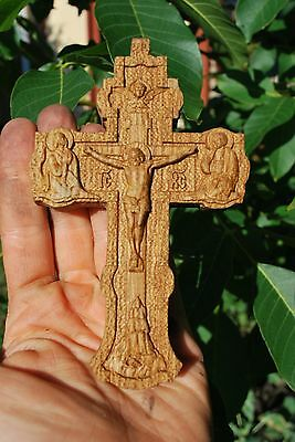 "4"" Pectoral Cross Orthodox crucifix Wood Carved Religious christian gift"
