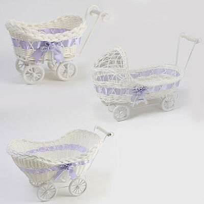 Wicker Basket Pram Hamper Baby Shower Mauve Girl