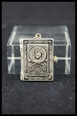 † ECCE HOMO STATIONS / WAY of THE CROSS SILVER BOOK LOCKET PENDANT 14 PICTURES †