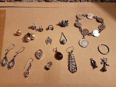 Antique solid silver jewellery lot