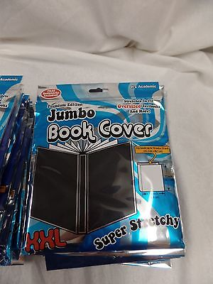 JUMBO BOOK COVER XXL super stretchy its academic BLACK -MANY AVAILABLE FREE SHIP