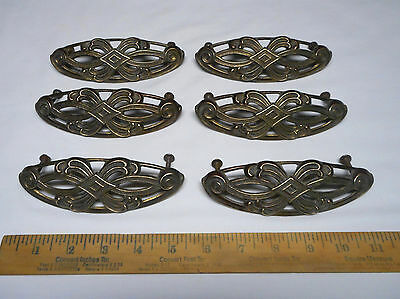 Lot 6 Vintage Keeler Brass Art Deco Dresser Drawer Pulls Handles Hardware K6748