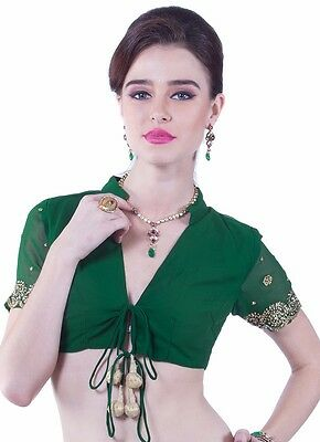 New green and gold georgette sari saree blouse choli bellydance crop top size 34