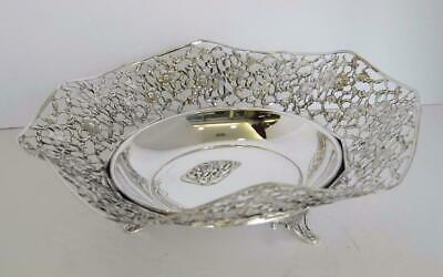 Italian 925 Sterling Silver Handcrafted Open Floral Filigree Ornate Dish 93109