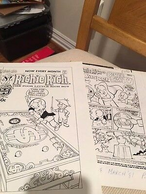 Harvey comic Richie Rich Casper File Production cover and comic 24 pgs total WOW