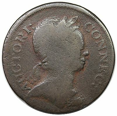 "1785 Connecticut Copper, scarce Miller 2-A.1, R.5, ""Roman Head"", VG+"