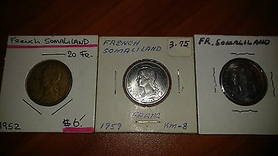 3 Coin Lot - FRENCH SOMALILAND Years from 1952, 1959, 1959