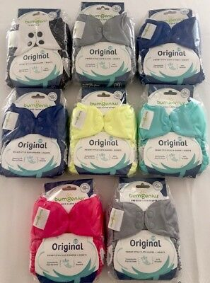 8 Bumgenius Original 5.0 Reusable Pocket Style Diapers On Size + Inserts ALL NEW