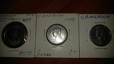 3 Coin Lot - French Equatorial Africa Years from 1948, 1948, and 1972