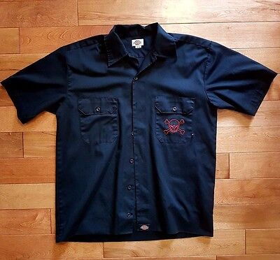 Avenged Sevenfold Dickies Black Embroidered Dual Sided Mechanic Button Up Size M