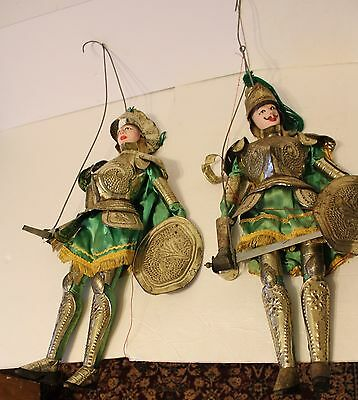 """Two Italian Sicilian Rod Marionette Puppets Antique Vintage Large-24"""" Knights"""