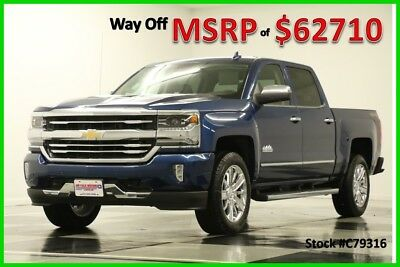 2017 Chevrolet Silverado 1500 MSRP$62710 4X4 High Country 6.2L Sunroof GPS Blue New Navigation Heated Cooled Leather Ocean Cab Saddle Camera 20 Inch Wheels