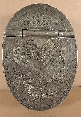 Antique Chinese Pewter Make Up Box Signed
