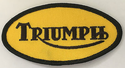 Embroidered  cloth patch ~ Triumph yellow oval.    B011103