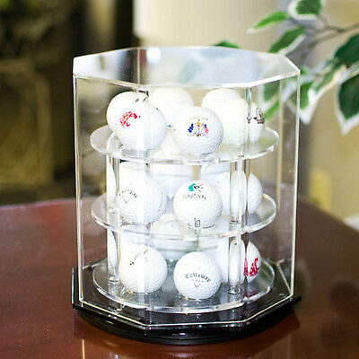 Clear Acrylic Spinning Desktop Golf Ball Display Case - Holds 18 Balls - NEW!