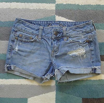 American Eagle Denim Distressed Women's Junior's Jean Short Shorts Size 00