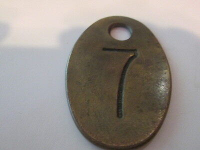 Antique Brass Double Sided Cow Tag Original Cattle Farm  #7
