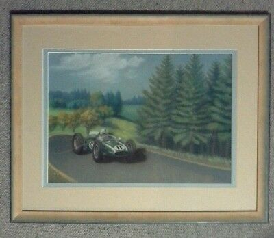 Vintage Original Watercolor Painting Sir Jack Brabham T51 by K. Knight