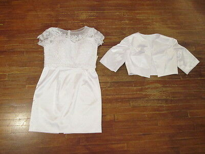 NWT 2 pc Wedding Dress Suit Short Dress w/satin shrug coat-honeymoon Shower 16W