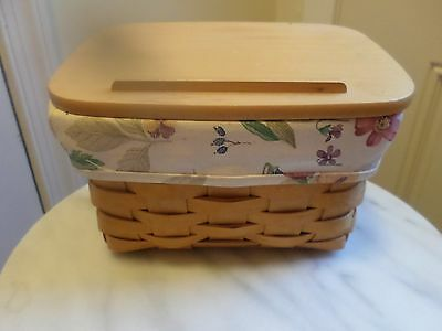 Longaberger  Large Recipe Basket Combo With Botanical Liner And Protector
