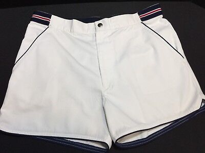 Mens Vintage TENNIS SHORTS by Travis Cup Sz 32 Red White & Blue Retro 80s