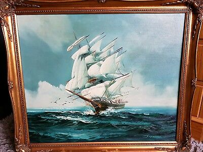 Antique Large oil painting Ships Signed