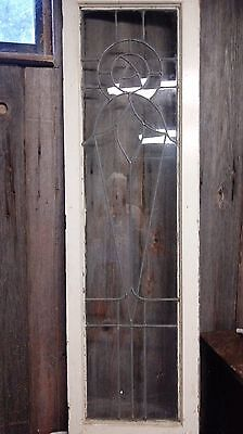 """Leaded Glass Window W/Wood Frame 62"""" x 18"""" No Crack or Missing Panes"""