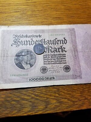 Old German Banknote + WWII Coin