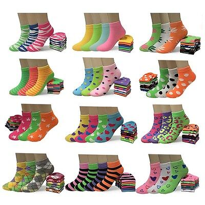 New 6 12 Pairs Fashion Womens Low Cut Ankle Socks Cotton Multi Styles Size 9-11