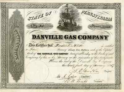 1857 Danville Gas Co Stock Certificate